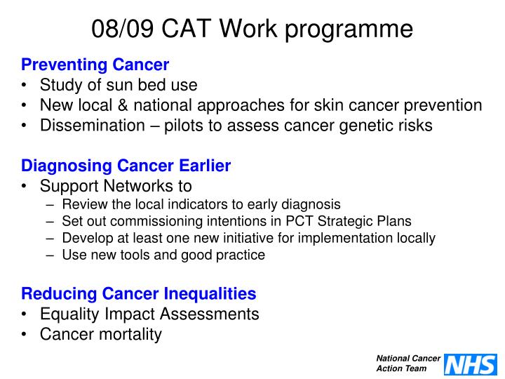 08/09 CAT Work programme