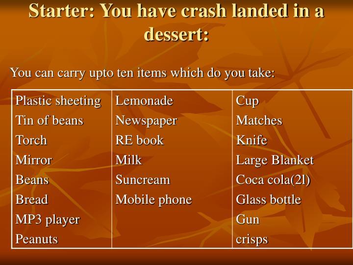 Starter: You have crash landed in a dessert: