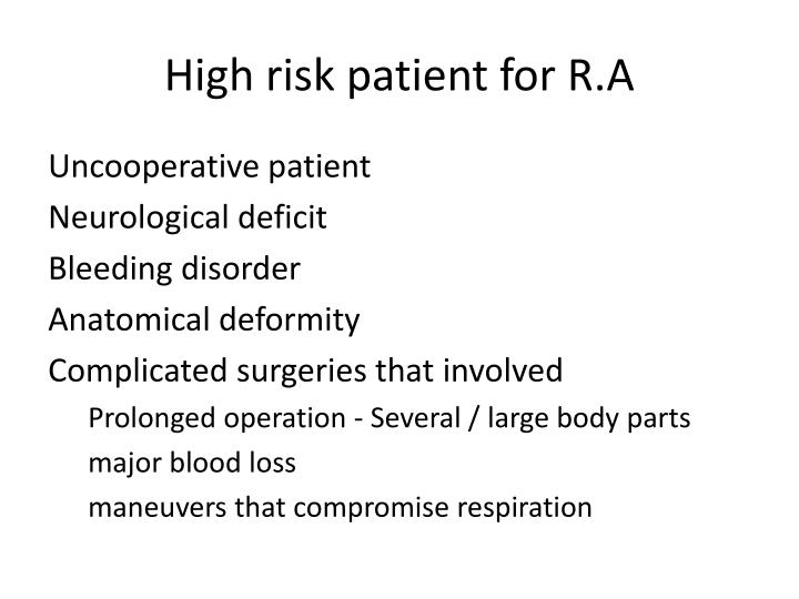 High risk patient for R.A
