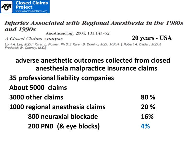 adverse anesthetic outcomes collected from closed anesthesia malpractice insurance claims
