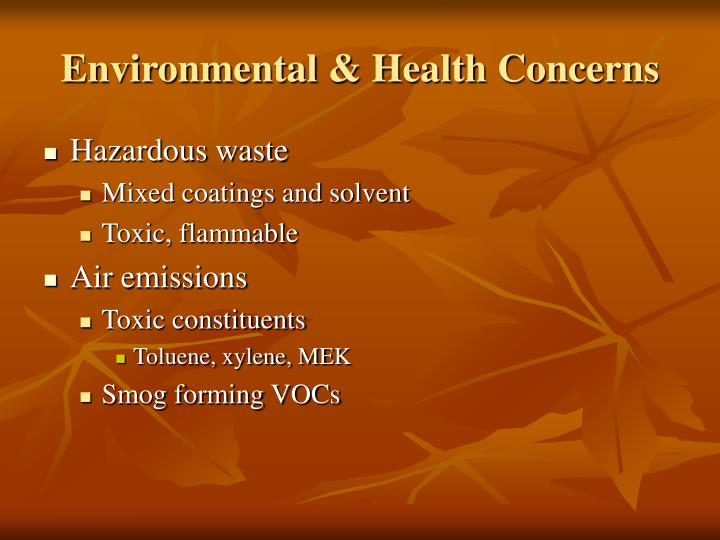 Environmental health concerns