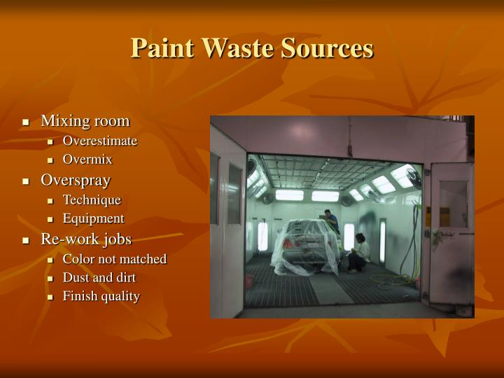 Paint waste sources