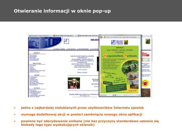 Otwieranie informacji w oknie pop-up
