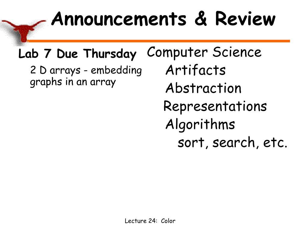 Lab 7 Due Thursday
