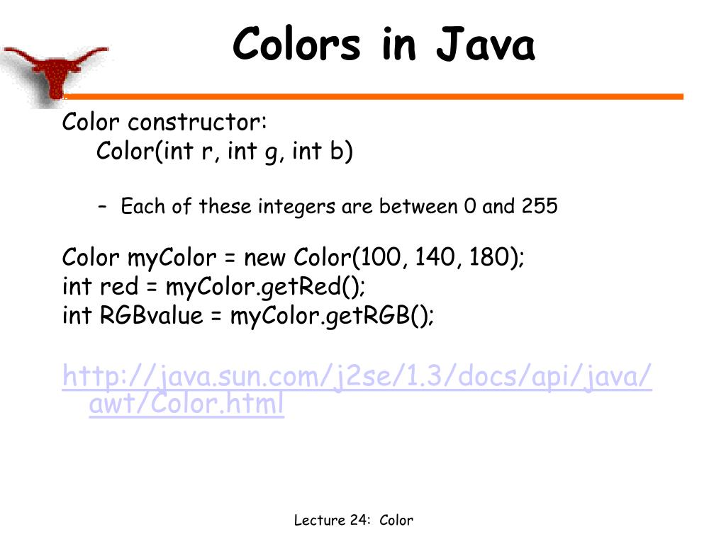 Colors in Java