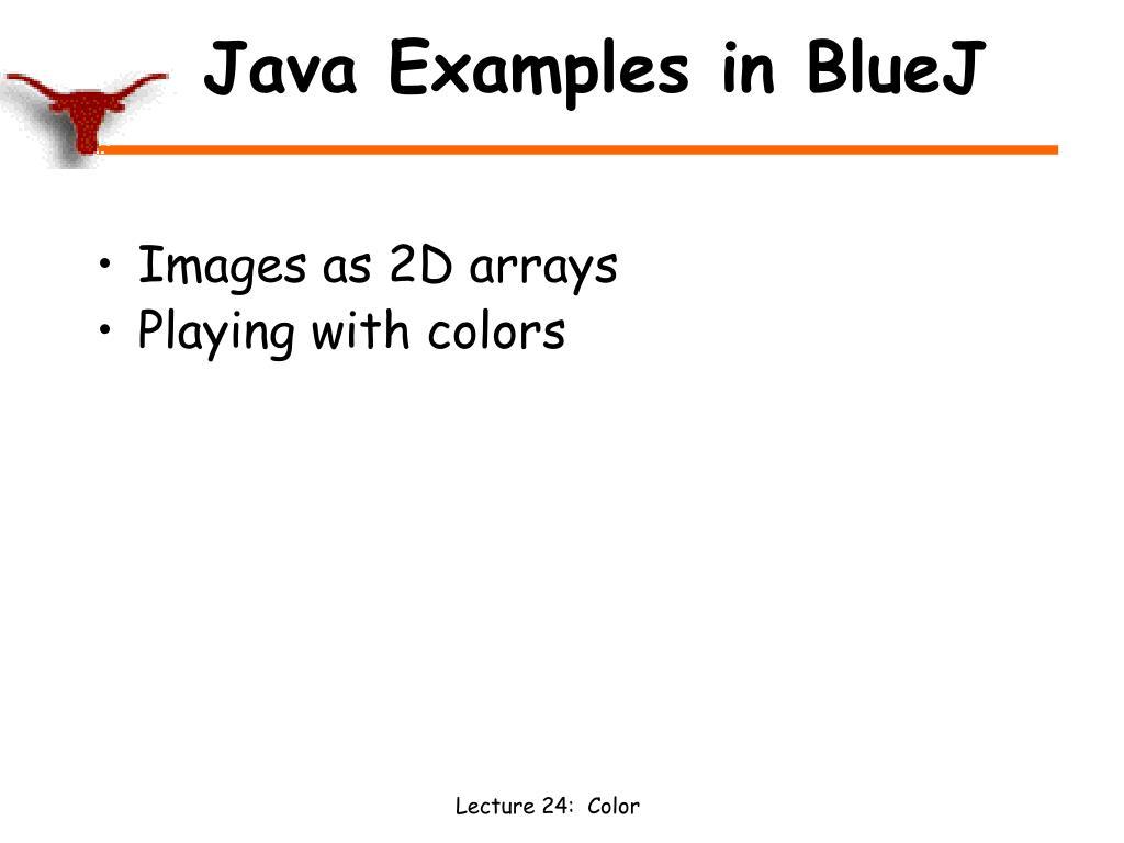 Java Examples in BlueJ