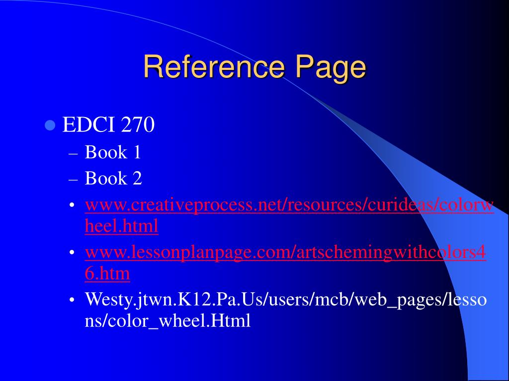 Reference Page