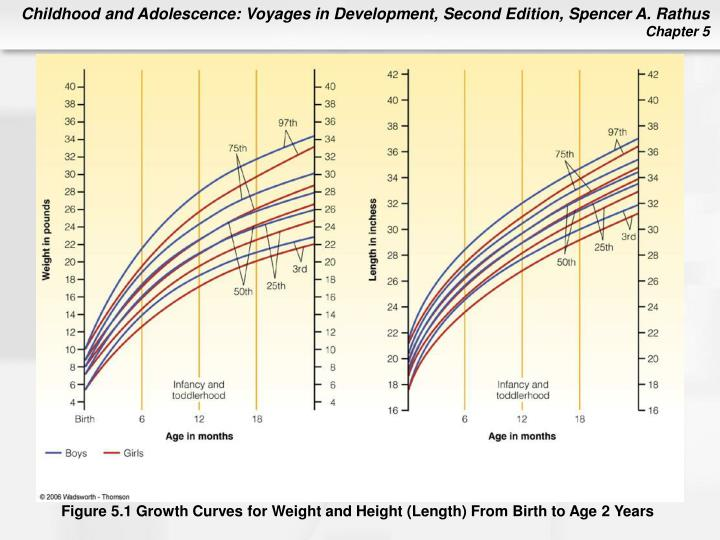 Figure 5.1 Growth Curves for Weight and Height (Length) From Birth to Age 2 Years