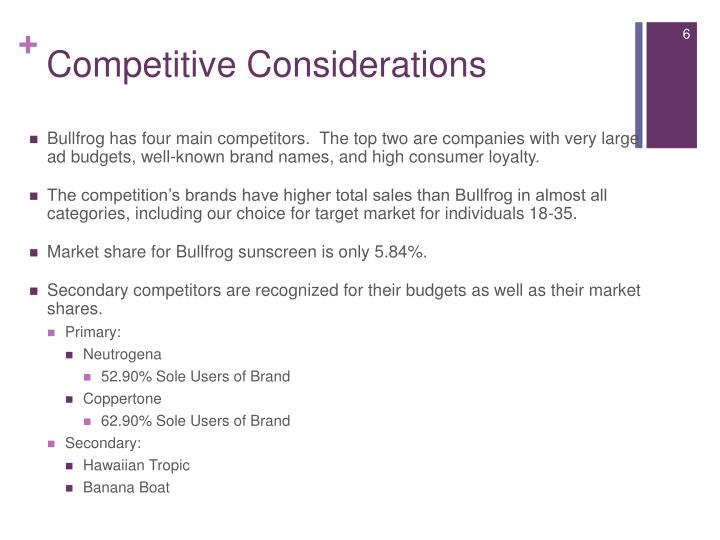 Competitive Considerations