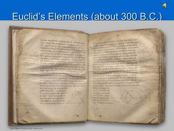 Euclid's Elements (about 300 B.C.)