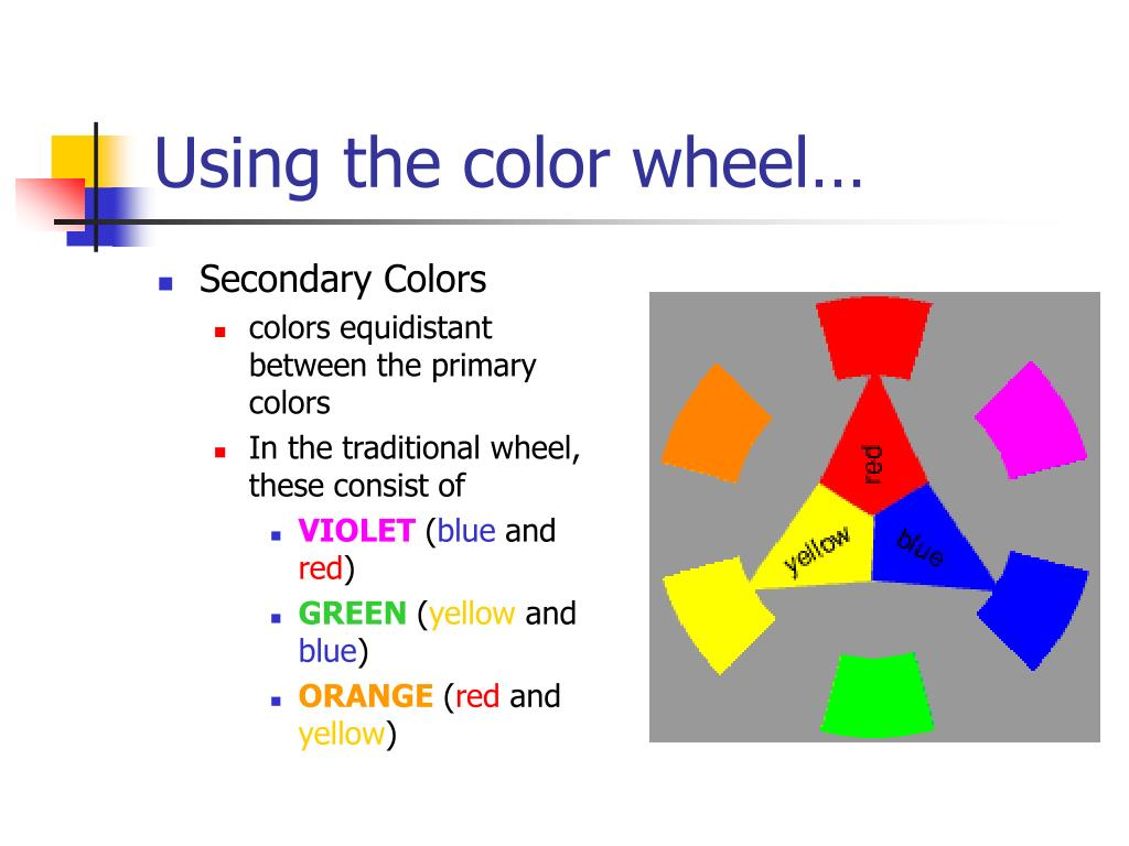 Using the color wheel…