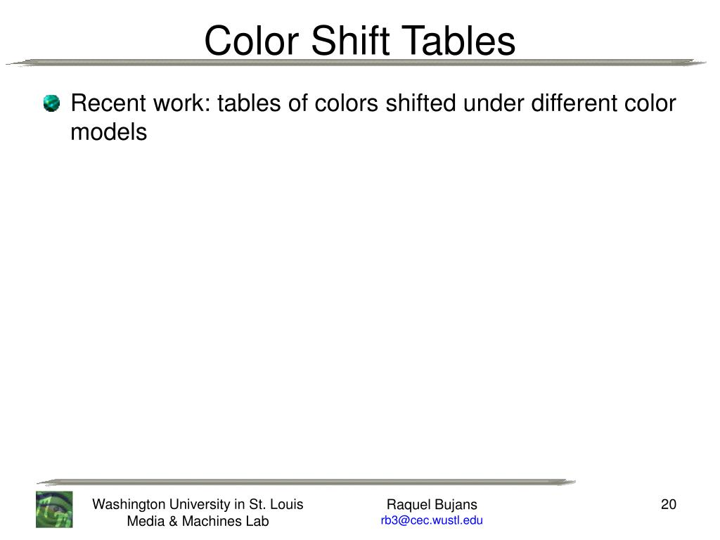 Recent work: tables of colors shifted under different color models