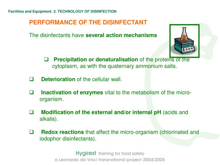 Facilities and Equipment. 3. TECHNOLOGY OF DISINFECTION