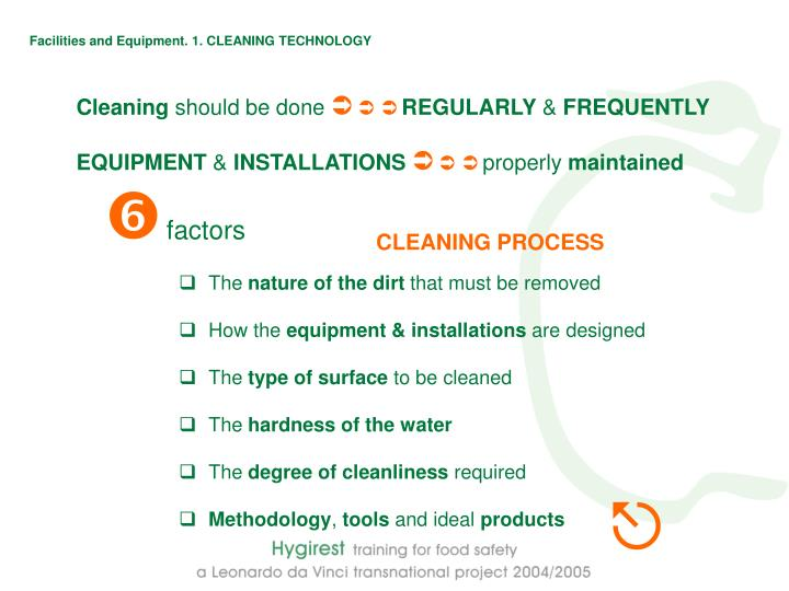 Facilities and Equipment. 1. CLEANING TECHNOLOGY