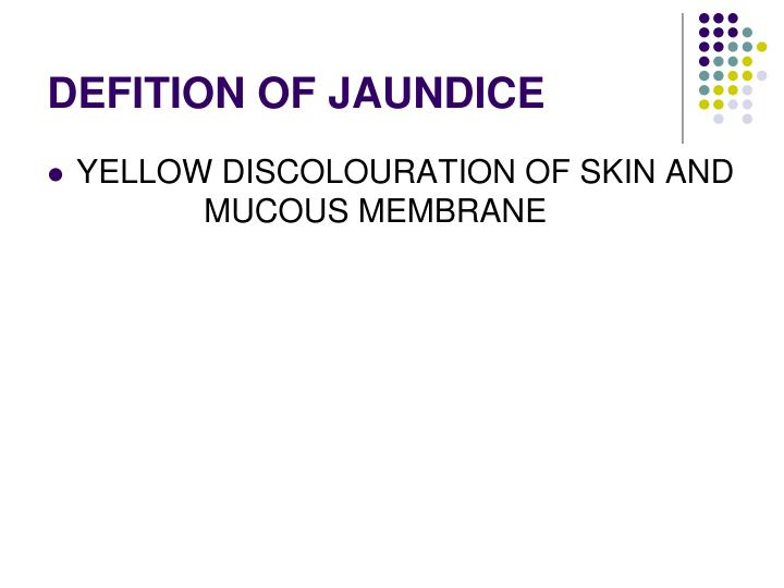 Defition of jaundice