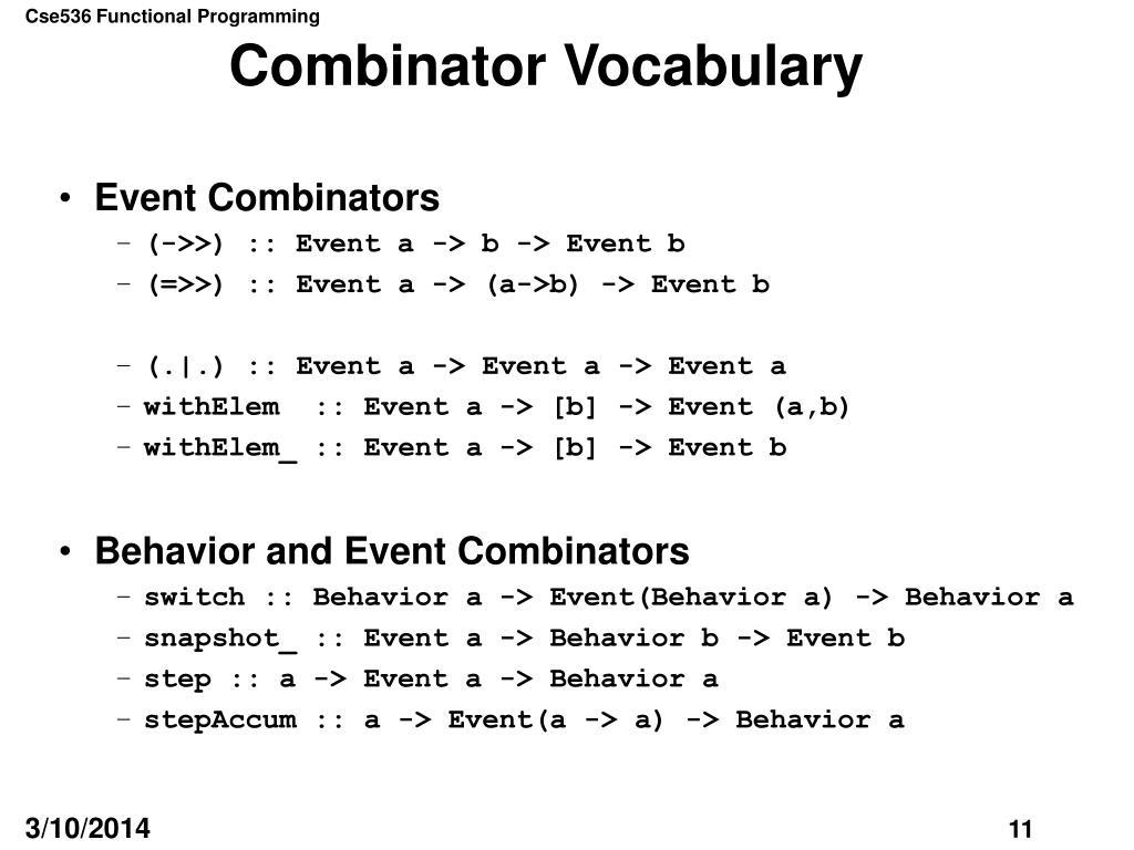 Combinator Vocabulary