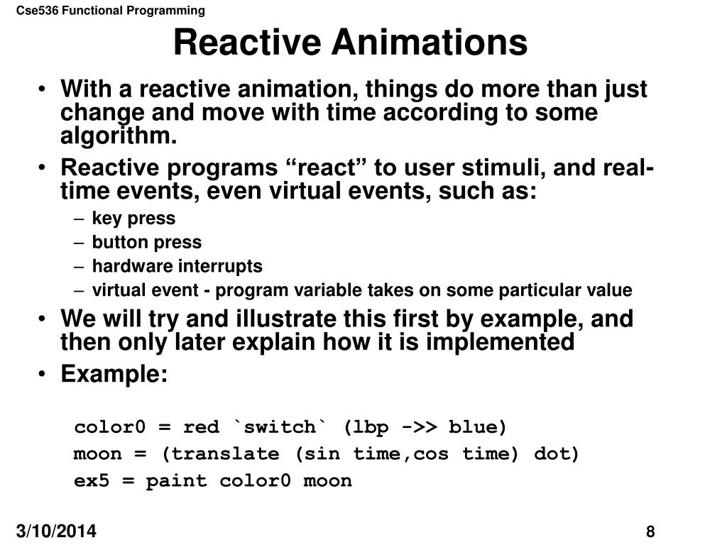 Reactive Animations
