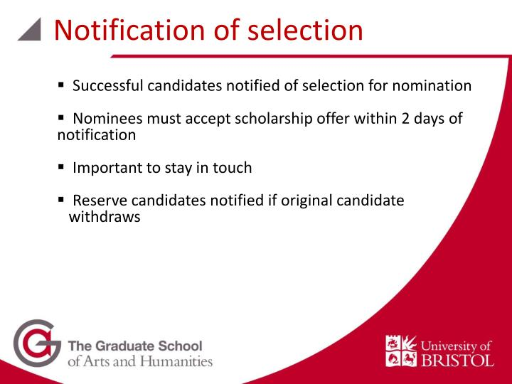 Notification of selection