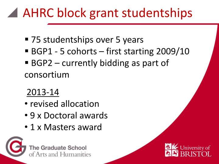 AHRC block grant studentships