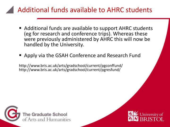 Additional funds available to AHRC students