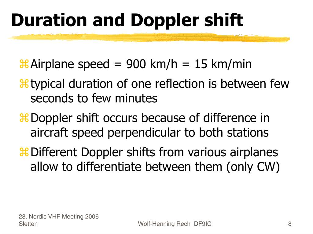 Duration and Doppler shift