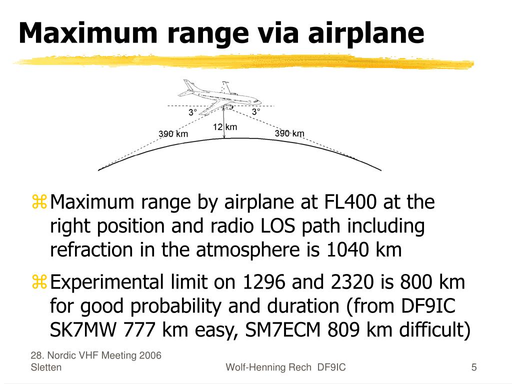 Maximum range via airplane