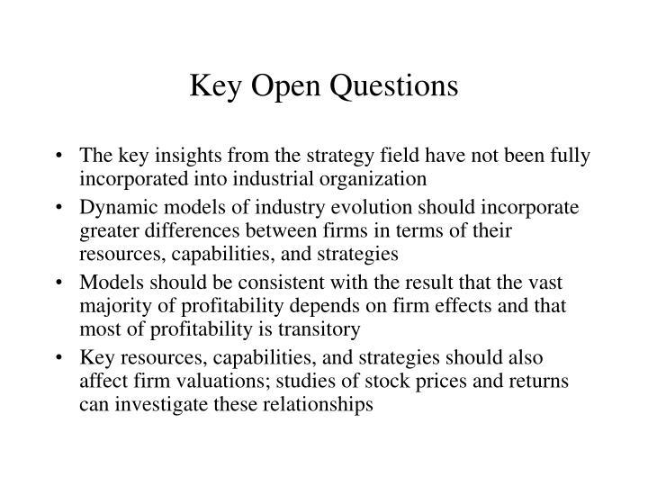 Key Open Questions