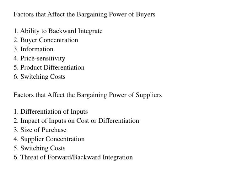 Factors that Affect the Bargaining Power of Buyers