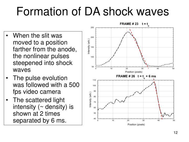 Formation of DA shock waves