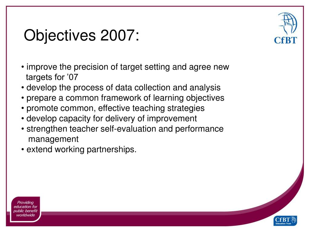 Objectives 2007: