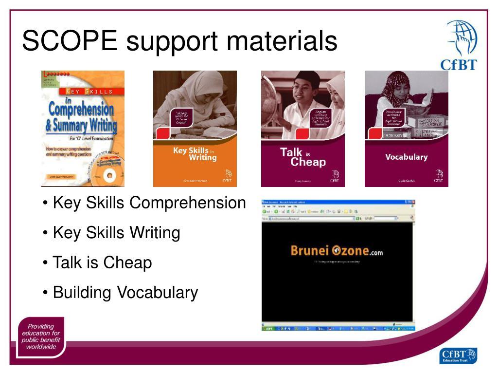 SCOPE support materials