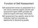 function of self assessment