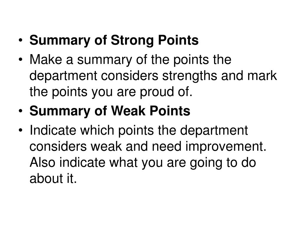 Summary of Strong Points