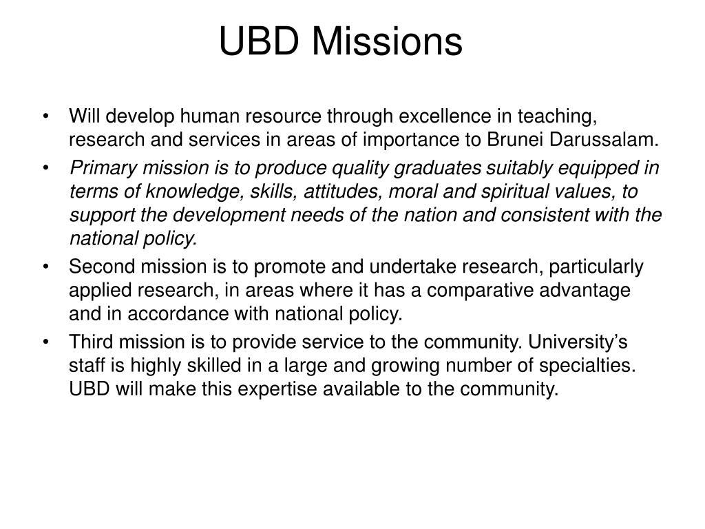 UBD Missions