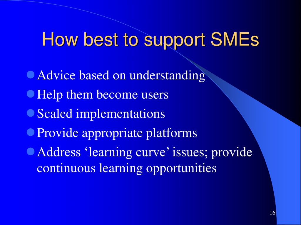 How best to support SMEs