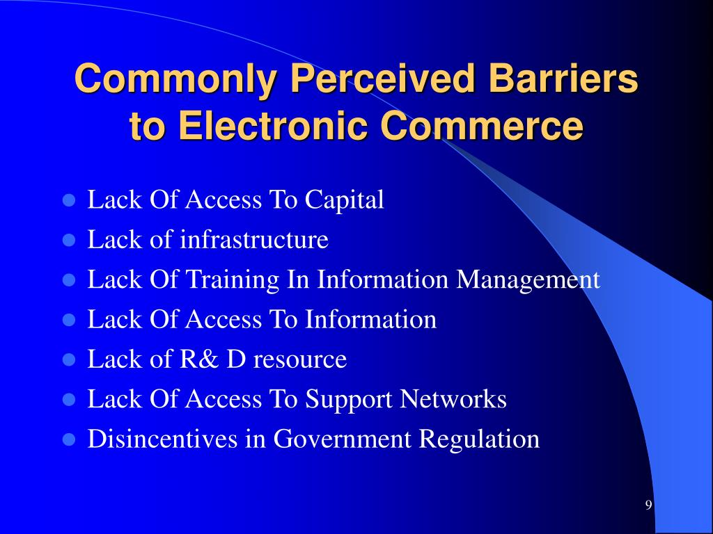 Commonly Perceived Barriers to Electronic Commerce