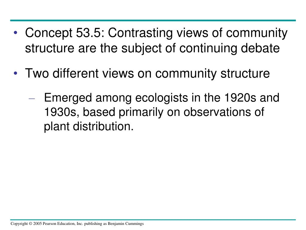 Concept 53.5: Contrasting views of community structure are the subject of continuing debate