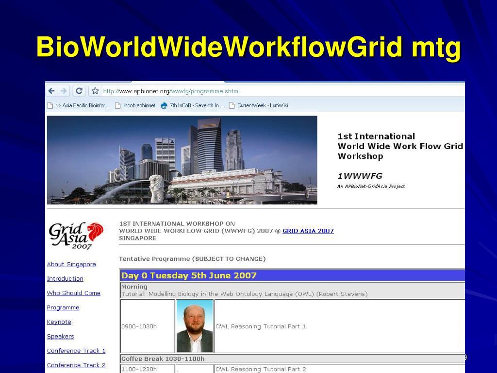 BioWorldWideWorkflowGrid mtg