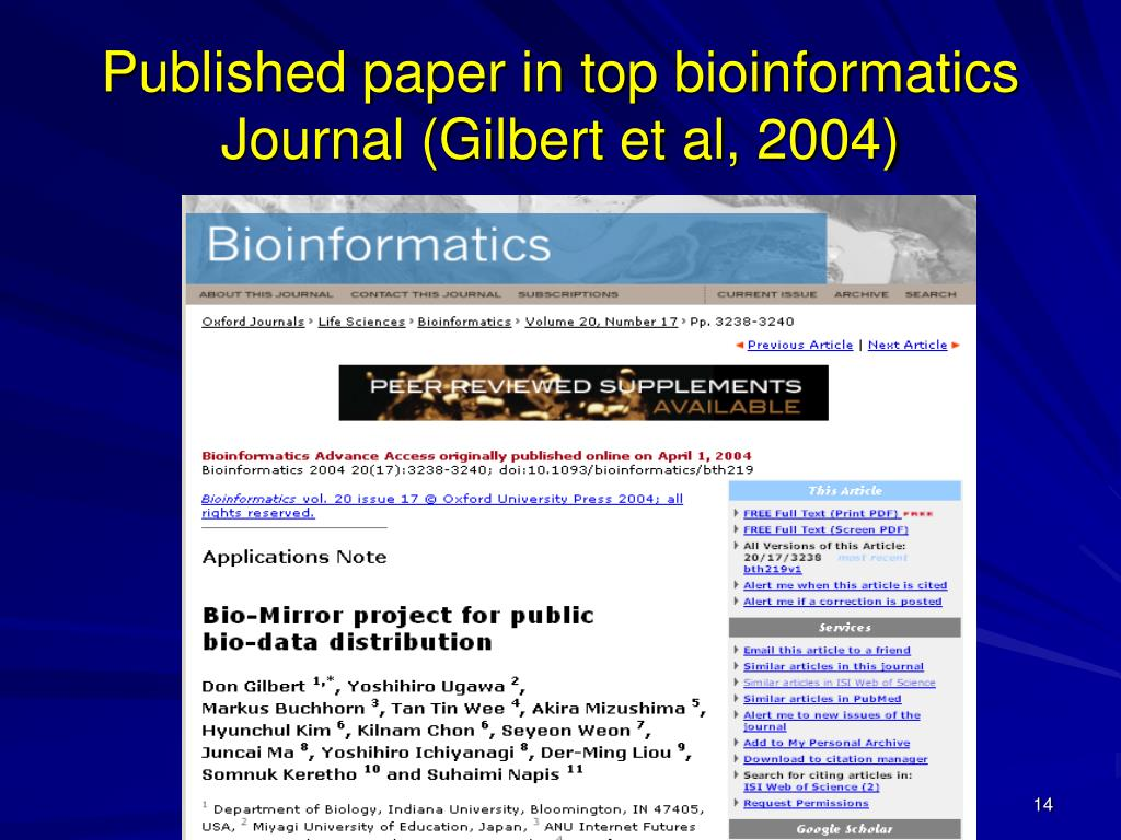 Published paper in top bioinformatics Journal (Gilbert et al, 2004)