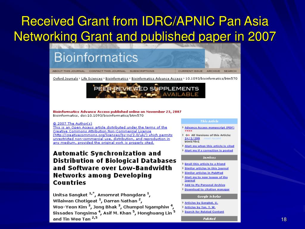 Received Grant from IDRC/APNIC Pan Asia Networking Grant and published paper in 2007
