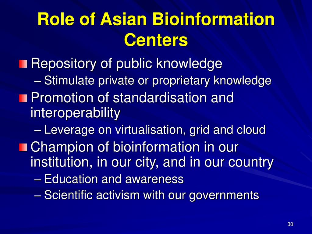 Role of Asian Bioinformation Centers