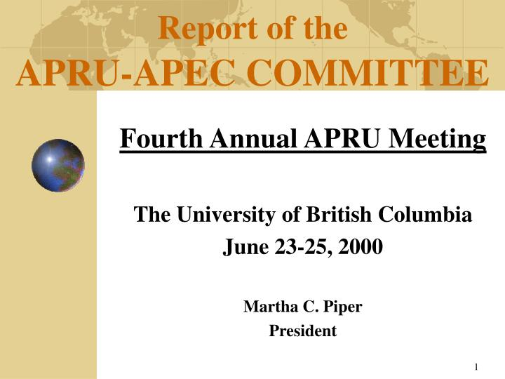 Report of the apru apec committee