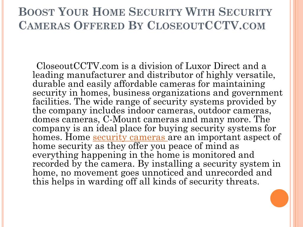 Boost Your Home Security With Security Cameras Offered By CloseoutCCTV.com