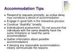 accommodation tips