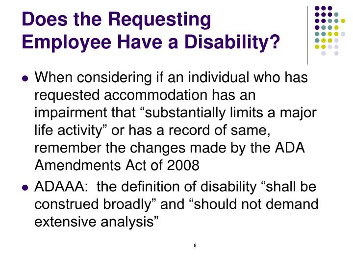 Does the Requesting Employee Have a Disability?