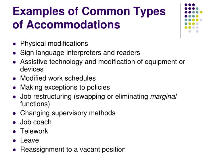 Examples of Common Types of Accommodations