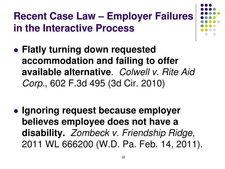 Recent Case Law – Employer Failures in the Interactive Process