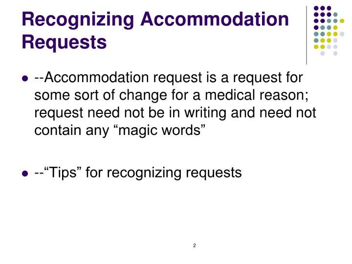 Recognizing Accommodation Requests