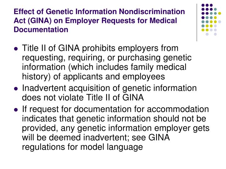 Effect of Genetic Information Nondiscrimination Act (GINA) on Employer Requests for Medical Documentation