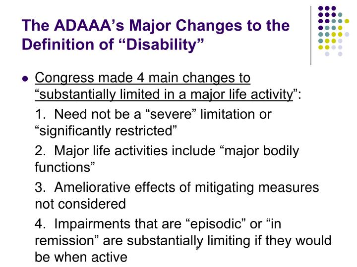 "The ADAAA's Major Changes to the Definition of ""Disability"""